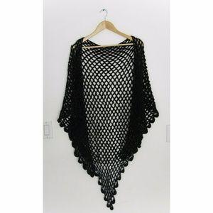SALE 90's vintage handmade black knit shawl
