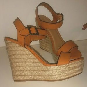 Shoes - TAN ESPADRILLE WEDGE HEELS - SIZE 10...NEW NEW!