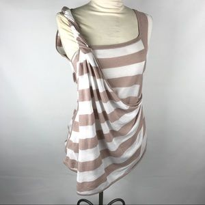 LAMB Yarn Dyed Linen Blend Stripe Twisted Drape