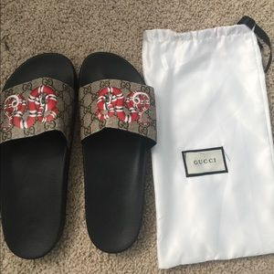Gucci Snake Print Slides (Authentic)
