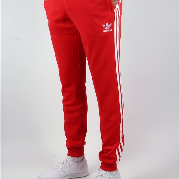 f83efa669 adidas Pants | Mens Red Track | Poshmark