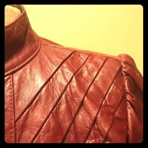 Maroon Retro Leather Jacket