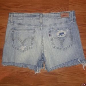 Levi's distressed light wash jean shorts