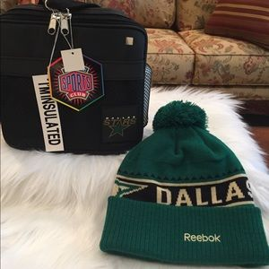 Dallas Stars cooler and Reebock beanie.