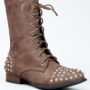 Taupe Studded Booties