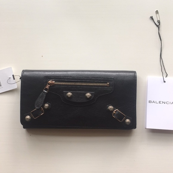 ddb3cc91731 Balenciaga Bags | Classic Rose Gold Money Wallet Black Never Used ...
