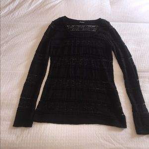 Express black laced long sleeve top