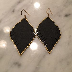 Jewelry - Handmade black leather earrings