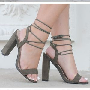 Olive Green Lace Up Heels!