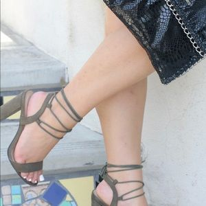 Shoes - Olive Green Lace Up Heels!