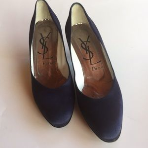 YSL vintage purple satin pumps