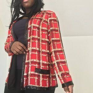 jack bryan Jackets & Coats - Vintage Jack Bryan sequined red gold black blazer