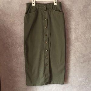 Military green button up skirt