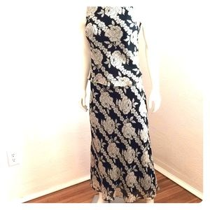 Silk ankle length skirt and top, black and ivory