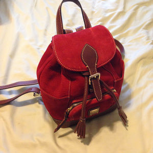 Dooney & Bourke Dark Red Suede Mini Backpack
