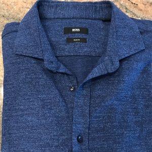 Men's knit long sleeve button down shirt
