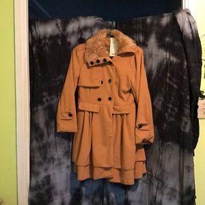 Jackets & Blazers - Fur collard coat
