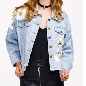Jackets & Blazers - Embroidered distressed Denim Jacket