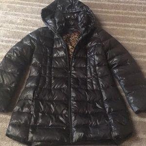 Black long puffer coat Express M/L. Never worn