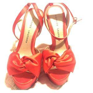 Chinese Laundry Orange Satin heels