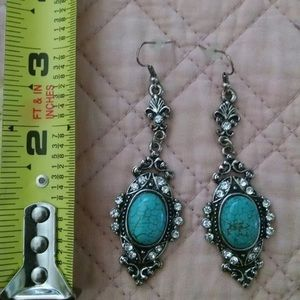 Jewelry - Turquoise and Tibetan Silver Earrings