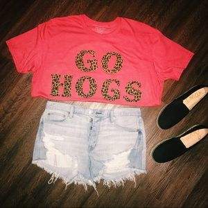 Tops - GO HOGS Stitch Letter Shirt