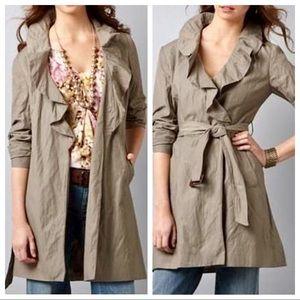 Loft Front Ruffle Belted Trench Coat