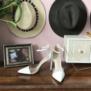Zara Basic White Ankle Strap Pumps