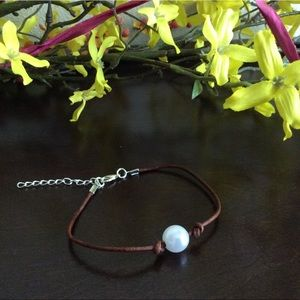 Jewelry - Pearl Leather Anklet/Ankle Bracelet