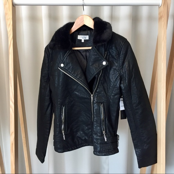 Charlotte Russe Jackets & Coats - Faux Leather & Fur Moto Jacket