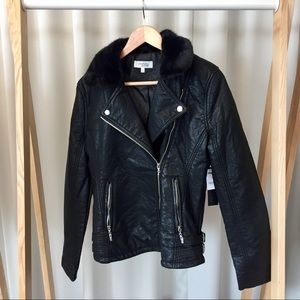 Faux Leather & Fur Moto Jacket