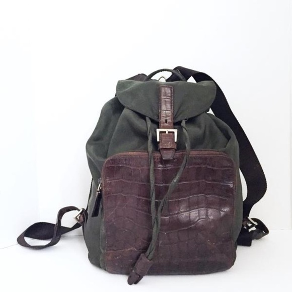 1bfe94f1529b Authentic Prada green nylon brown croc backpack. M_59b81c714e95a3745c017039