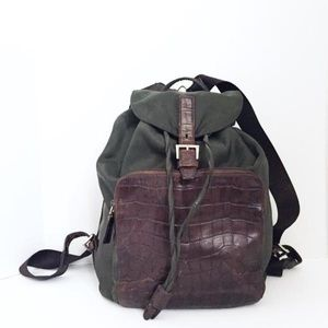 Authentic Prada green nylon brown croc backpack