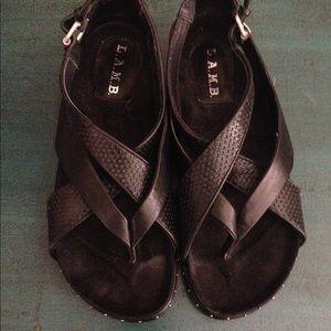 L.A.M.B. Bellatrix Black Leather Sandals