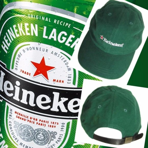 Heineken Other - Heineken Beer Baseball Cap Green Hat Leather Strap 1de83a88955