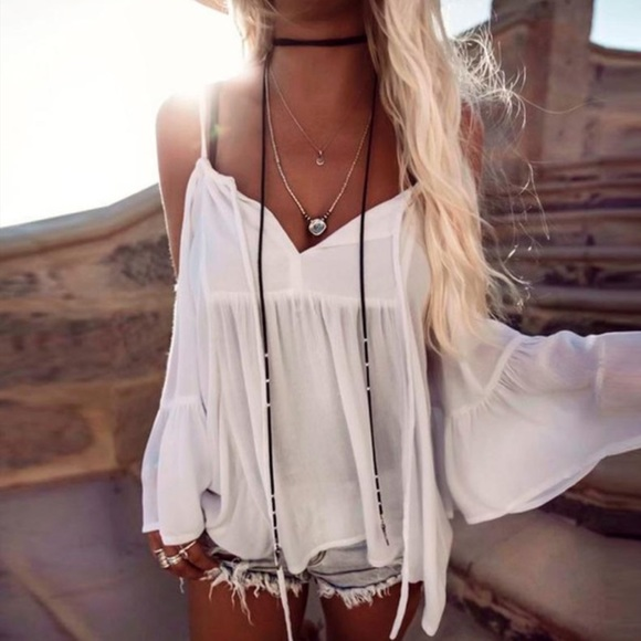 831f23b913d6f Bohemian Cold Shoulder Bell Sleeve Top White 1617