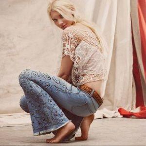 Anthropologie boho turquoise studded jeans