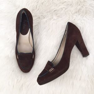 Boden Brown Suede Penny Loafer Pumps