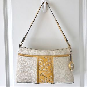 Etienne Aigner purse, cream jaquard and yellow
