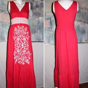 Currants Maxi Dress Pink Coral w/White Lace Size M
