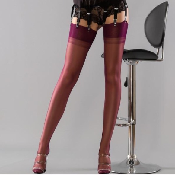 42baa69b7 GIO Cuban Heel Contrast Seam Stockings