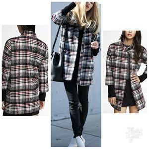 New EXPRESS plaid M coat jacket COCOON winter