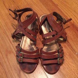 Cynthia Vincent gladiator wedge sandal, 8.