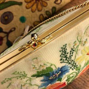 Vintage Bags - Needlepoint Springtime Flower Purse