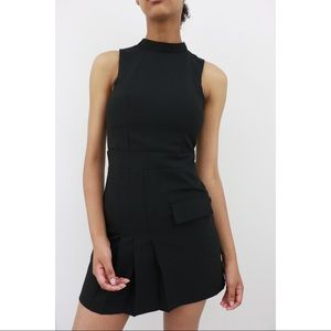 Sleeveless Mock Collar Mini Dress