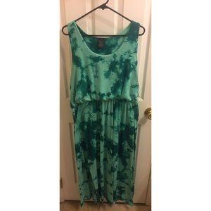 Plus Size Teal Tie-Dye Dress