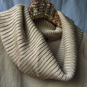 Sweaters - Gold Shimmer Ann Taylor Cowl-neck Sweater S