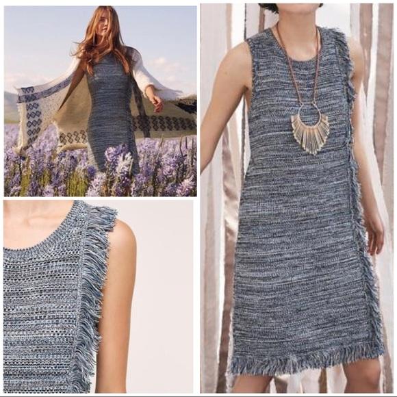 416dd0b27b Anthropologie Dresses   Skirts - EUC Holding Horses Blue Fringed Sweater  Dress
