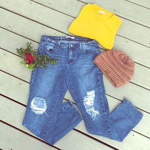 High waist distressed ripped straight leg jeans