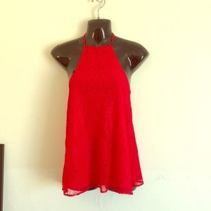 Sexy & chic red lace halter blouse. Size xs NWT